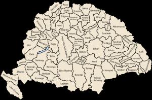 Magyarország vármegyéi áttekintő térkép (a vármegyék neve, kiterjedés idővel változott!)
